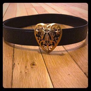 Gucci Leather Heart Crest Belt